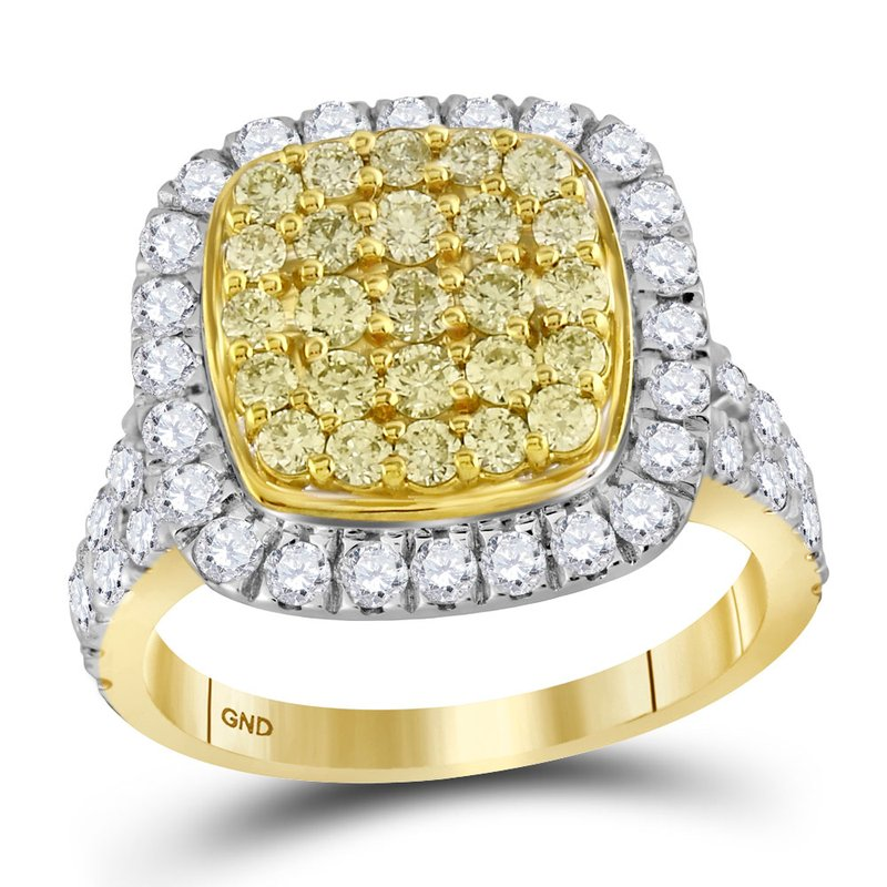 Gold-N-Diamonds, Inc. (Atlanta) 14kt Yellow Gold Womens Round Natural Yellow Diamond Cluster Ring 1-3/4 Cttw