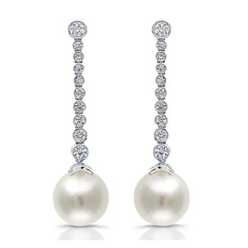 Long Diamond Drop Earrings with Pearls