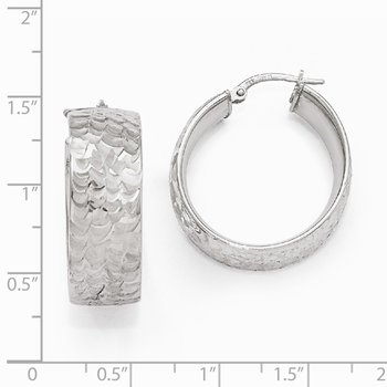 Leslie's SS Radiant Essence Rhodium-plated Hinged Hoop Earrings