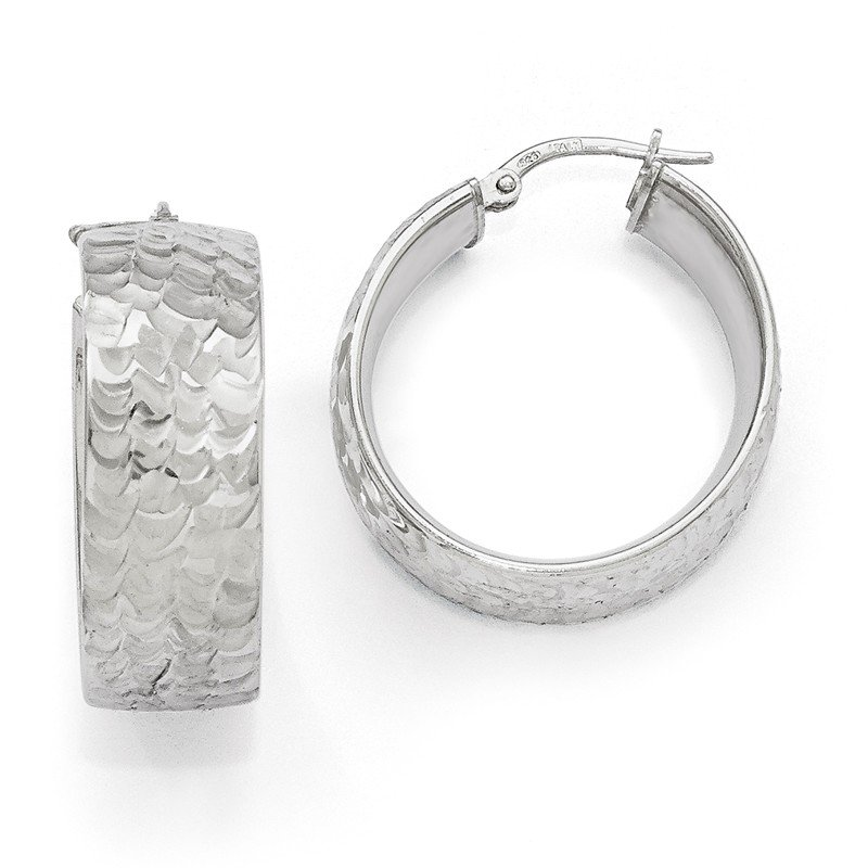 Leslie's Leslie's SS Radiant Essence Rhodium-plated Hinged Hoop Earrings