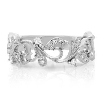 White Gold & Diamond Filigree Ring