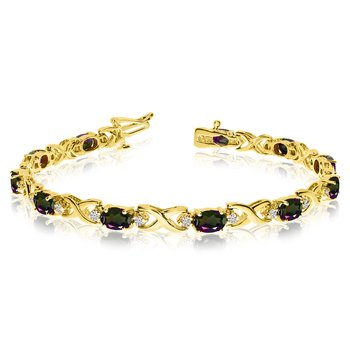 14k Yellow Gold Natural Mystic-Topaz And Diamond Tennis Bracelet