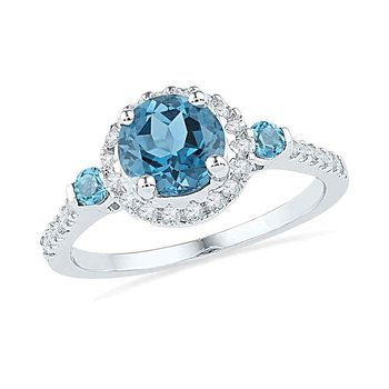 10kt White Gold Womens Round Lab-Created Blue Topaz Solitaire Diamond Ring 1/5 Cttw