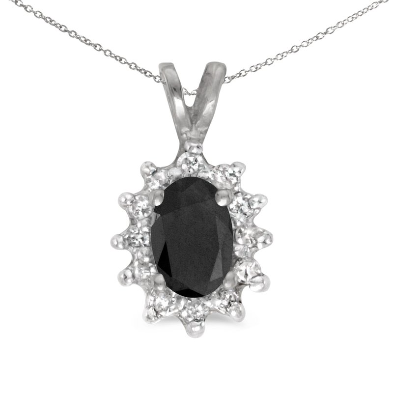 Color Merchants 14k White Gold Oval Onyx And Diamond Pendant