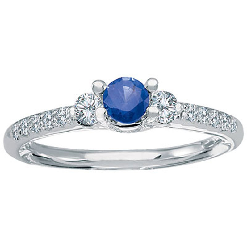 Color Merchants 14k White Gold Sapphire and Diamond Ring