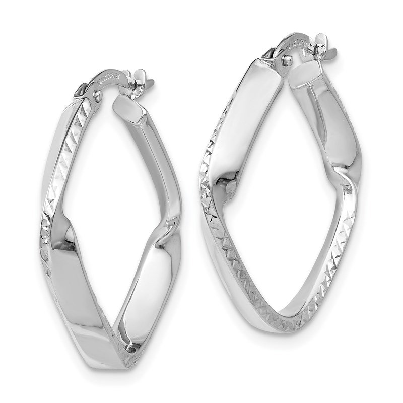 Leslie's Leslie's 14K White Gold Polished and D/C Hoop Earrings