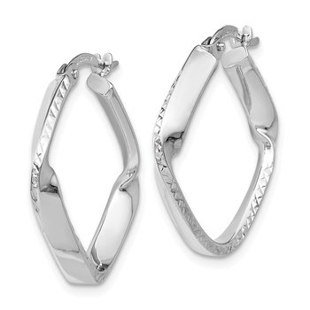 Leslie's 14K White Gold Polished and D/C Hoop Earrings