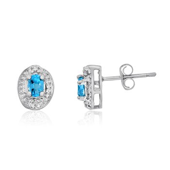 14k White Gold Blue Topaz Earrings with Diamonds