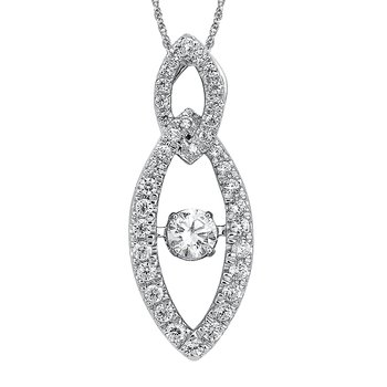 Dancing Diamond Marquise-Shaped Pendant in 14K White Gold with Chain