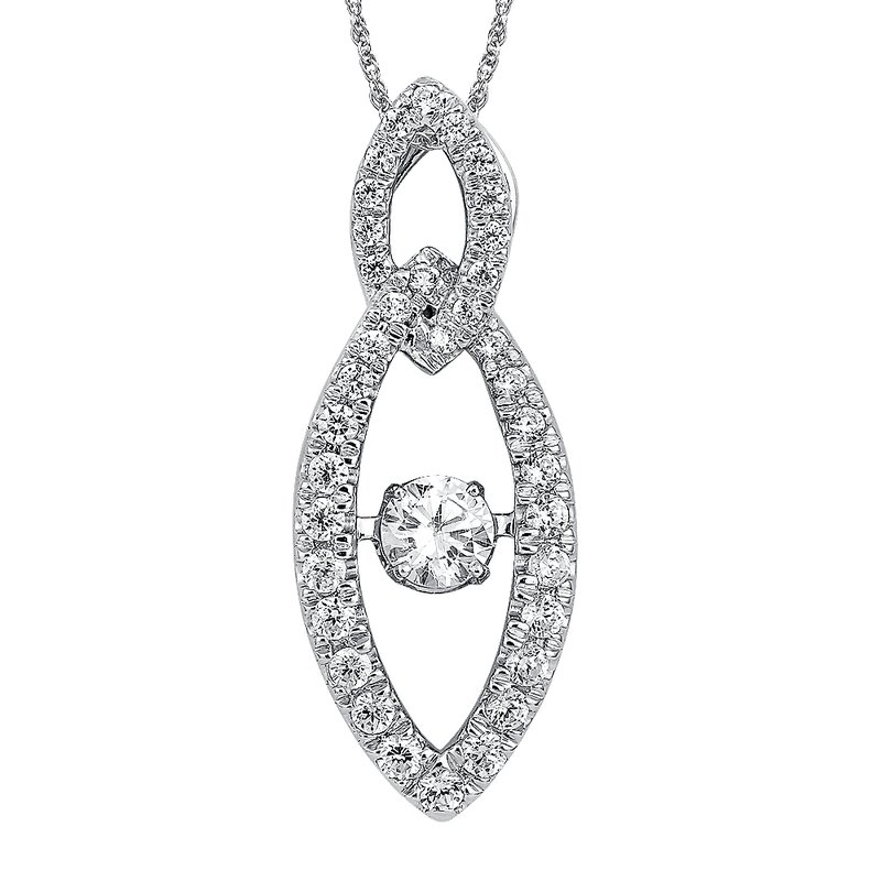 SDC Creations Dancing Diamond Marquise-Shaped Pendant in 14K White Gold with Chain