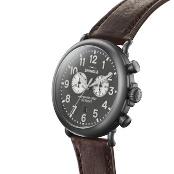 The Runwell 47mm Gray Dial Gunmetal Case Leather Strap Watch