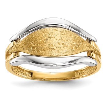 14k Two-tone Polished & Textured Ring