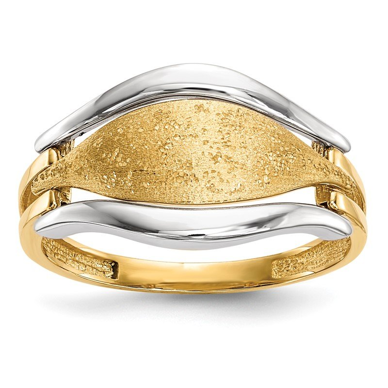 Quality Gold 14k Two-tone Polished & Textured Ring