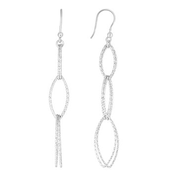 Silver Four Station Marquise Drop Earring