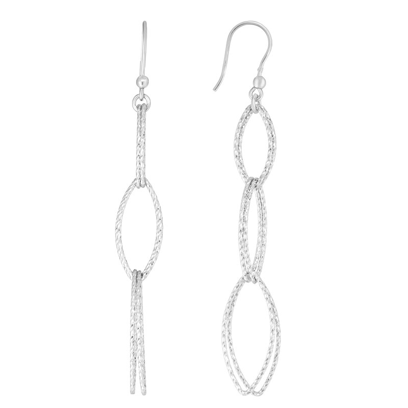 Royal Chain Silver Four Station Marquise Drop Earring