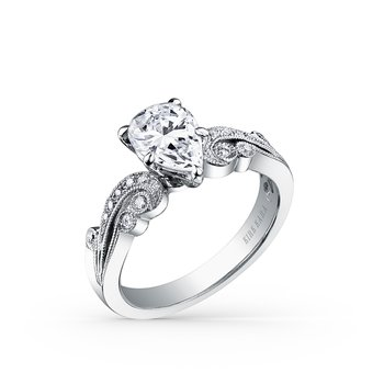 Milgrain Pear Diamond Milgrain Engagement Ring