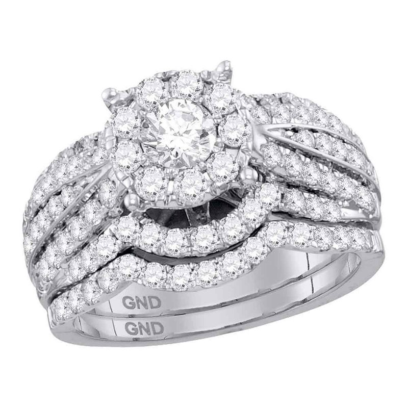 Gold-N-Diamonds, Inc. (Atlanta) 14kt White Gold Womens Round Diamond Halo Bridal Wedding Engagement Ring Band Set 1-3/4 Cttw