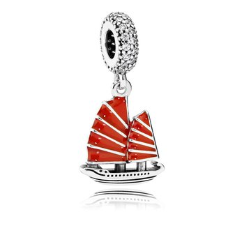 Chinese Junk Ship Dangle Charm, Red Enamel Clear Cz