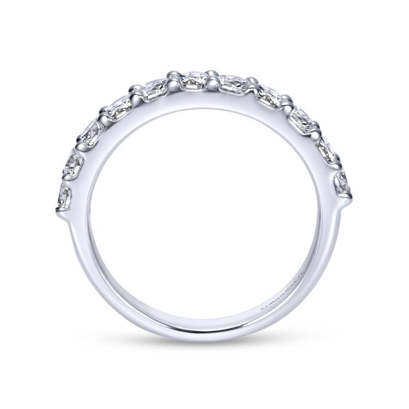 Gabriel Bridal 14k White Gold Round 11 Stone Diamond Anniversary Band