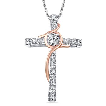 Diamond Cross Pendant in 14K White/Rose Gold (0.39 ct. tw.)