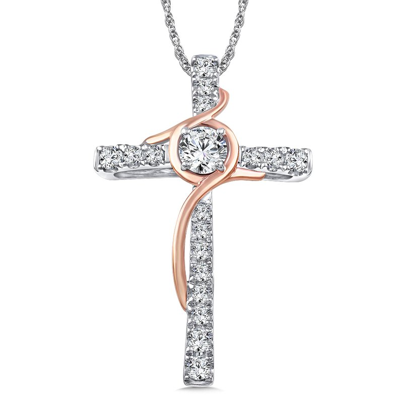 Caro74 Diamond Cross Pendant in 14K White/Rose Gold (0.39 ct. tw.)