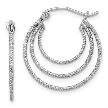 Sterling Silver Rhodium Plated Textured Fancy Circle Hoop Earrings