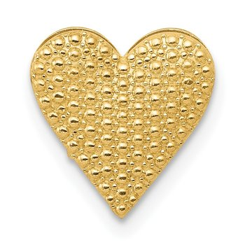 14K Polished and Textured Reversible Heart Chain Slide