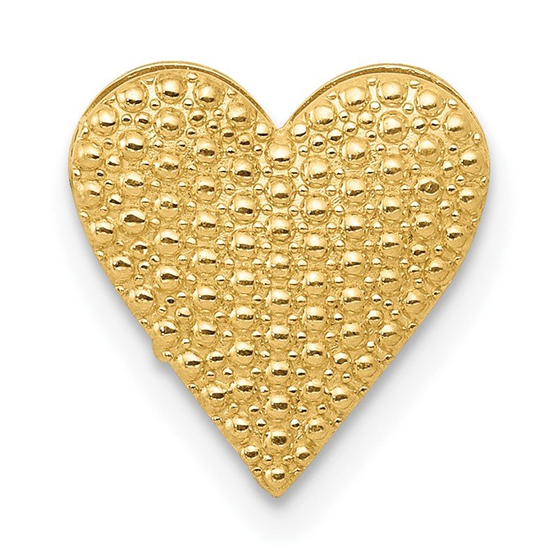 Quality Gold 14K Polished and Textured Reversible Heart Chain Slide