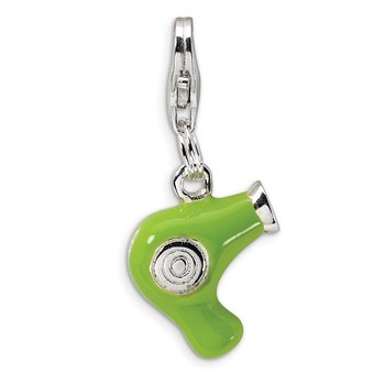 Sterling Silver Amore La Vita Rhod-pl Green Enameled Hair Dryer Charm