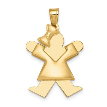 14k Puffed Girl w/Bow on Left Engravable Charm