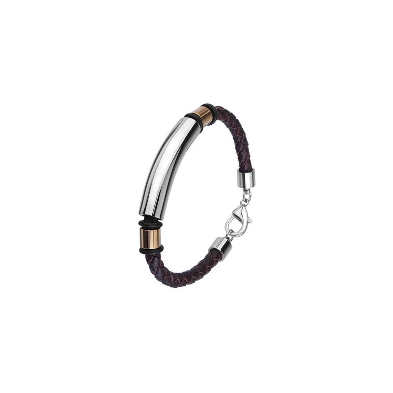 LARUS Jewelry Two Toned Leather and Steel Bracelet