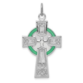 Sterling Silver Rhodium-plated Polished Epoxy Irish Cross Pendant