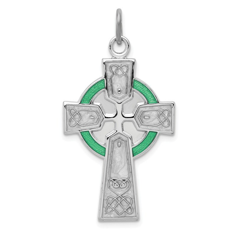 Quality Gold Sterling Silver Rhodium-plated Polished Epoxy Irish Cross Pendant