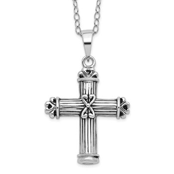 Sterling Silver Antiqued Cross Ash Holder 18in Necklace