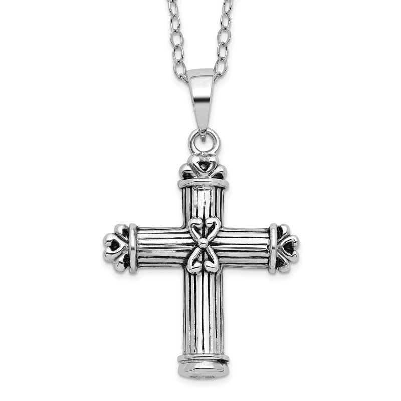 Quality Gold Sterling Silver Antiqued Cross Ash Holder 18in Necklace