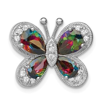 Sterling Silver Rhodium-plated Polished Dark Mystic CZ Butterfly Pendant
