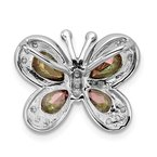 Quality Gold Sterling Silver Rhodium-plated Polished Dark Mystic CZ Butterfly Pendant