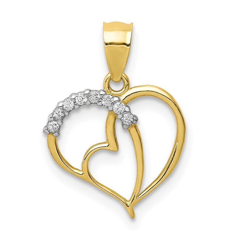 Lester Martin Online Collection 10K CZ Heart Pendant