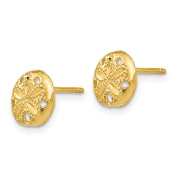14K Diamond-cut Sand Dollar Earrings