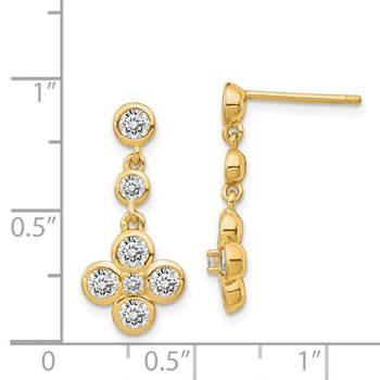 Sterling Silver Gold-tone Polished CZ Post Dangle Earrings