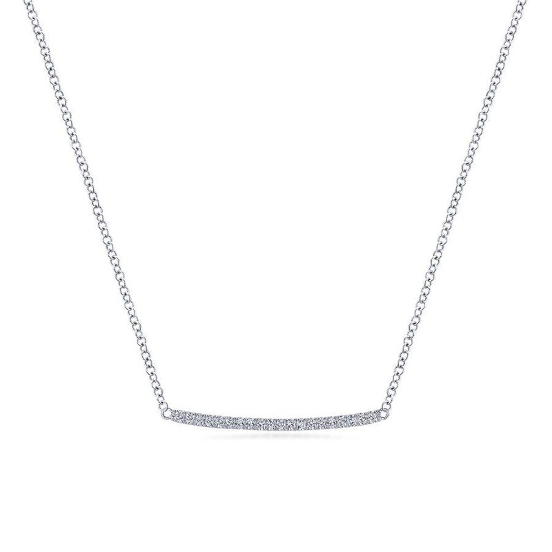 Amavida 14k White Gold Curved Pave Diamond Bar Necklace