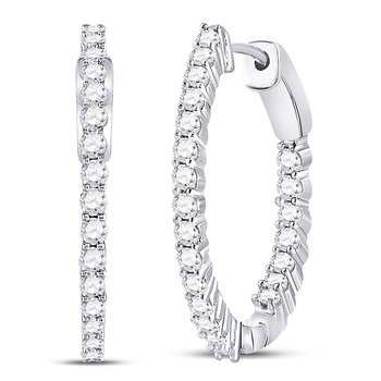 10kt White Gold Womens Round Diamond Inside Outside Hoop Earrings 2.00 Cttw