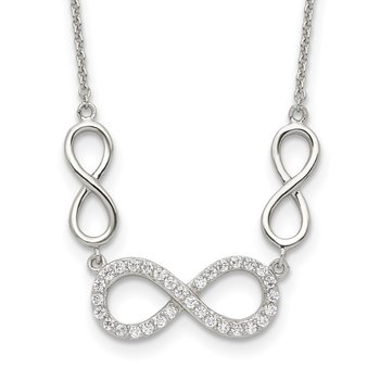 Sterling Silver Polished CZ Infinity Symbol Necklace