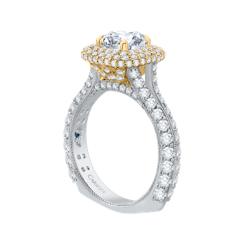 18K Two-Tone Gold Round Diamond Double Halo Engagement Ring (Semi-Mount)