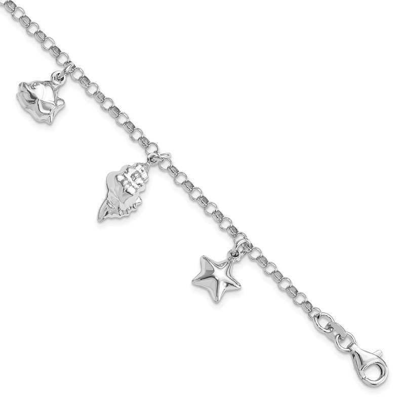 J.F. Kruse Signature Collection Sterling Silver Rhodium-plated Beach Theme Charm Bracelet