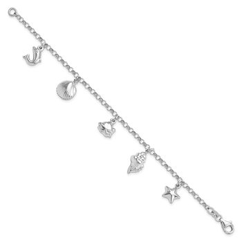 Sterling Silver Rhodium-plated Beach Theme Charm Bracelet