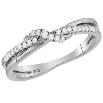 14kt White Gold Womens Round Diamond Crossover Stackable Band Ring 1/6 Cttw