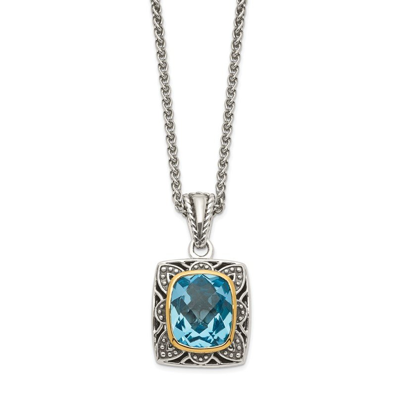 Quality Gold Sterling Silver w/ 14k Polished Blue Topaz Necklace