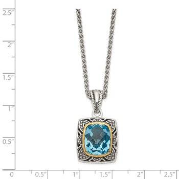 Sterling Silver w/ 14k Polished Blue Topaz Necklace