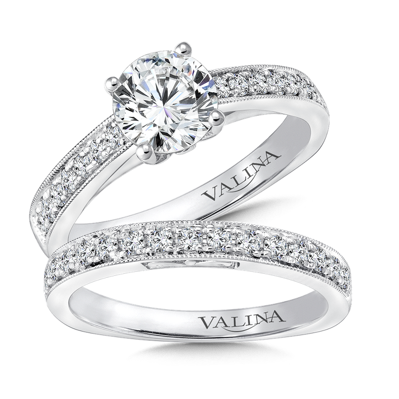 Valina Mounting with side stones .22 ct. tw., 1 ct. round center.